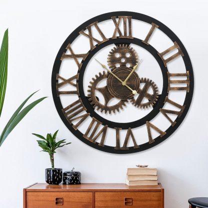 Wall Clock Large Modern Vintage Retro Metal Clocks 80CM Home Office Decor