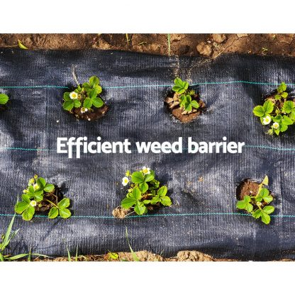 Instahut 3.66m x 20m Weedmat Weed Control Mat Woven Fabric Gardening Plant PE