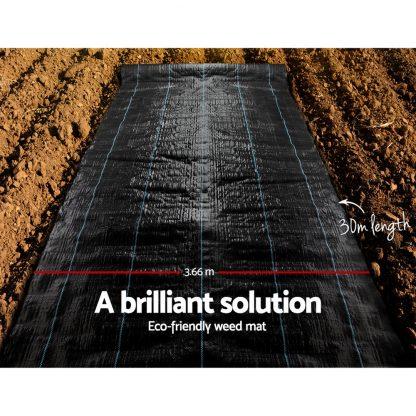 Instahut 3.66m x 30m Weedmat Weed Control Mat Woven Fabric Gardening Plant PE