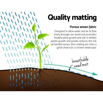 Instahut 3.66m x 50m Weedmat Weed Control Mat Woven Fabric Gardening Plant PE