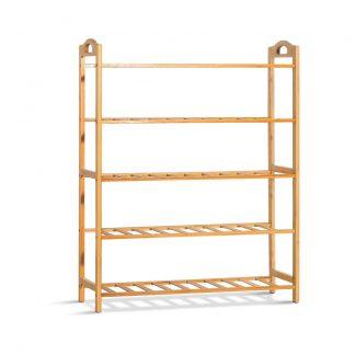 Artiss 5-Tier Bamboo Shoe Rack Organiser Storage Shelf Stand Shelves