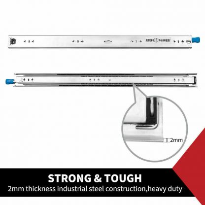 Drawer Slider Runner Ball Bearing Locking 125kg Track Cabinet Heavy Duty