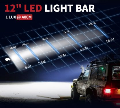 12inch CREE LED Light Bar Side Shooter Combo Beam Work Driving OffRoad 4WD