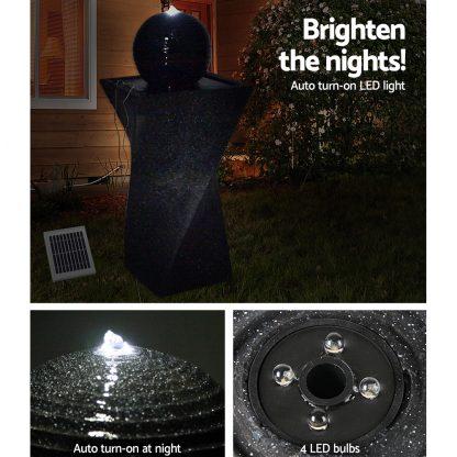 Gardeon Solar Powered Water Fountain Twist Design with Lights