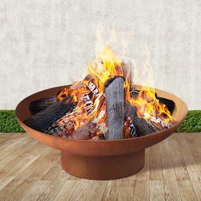 Grillz Rustic Fire Pit Vintage Campfire Wood Burner Rust Outdoor Iron Bowl 70CM