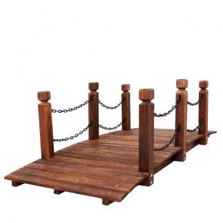 Garden Rustic Chain Bridge Wooden Decoration Decor Landscape 160cm Length Rail