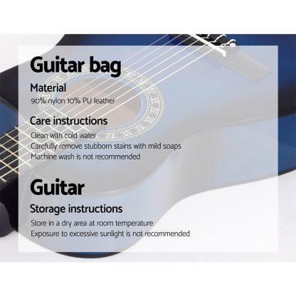 "Alpha 34"" Inch Guitar Classical Acoustic Cutaway Wooden Ideal Kids Gift Children 1/2 Size Blue"