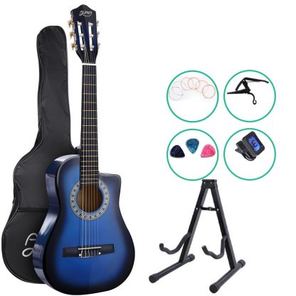 """Alpha 34"""" Inch Guitar Classical Acoustic Cutaway Wooden Ideal Kids Gift Children 1/2 Size Blue with Capo Tuner"""