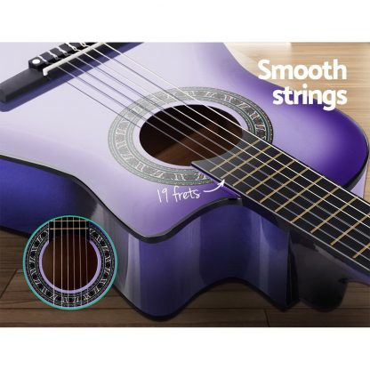 """Alpha 34"""" Inch Guitar Classical Acoustic Cutaway Wooden Ideal Kids Gift Children 1/2 Size Purple"""