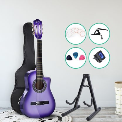 """Alpha 34"""" Inch Guitar Classical Acoustic Cutaway Wooden Ideal Kids Gift Children 1/2 Size Purple with Capo Tuner"""