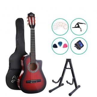 """Alpha 34"""" Inch Guitar Classical Acoustic Cutaway Wooden Ideal Kids Gift Children 1/2 Size Red with Capo Tuner"""