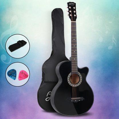 ALPHA 38 Inch Wooden Acoustic Guitar Black