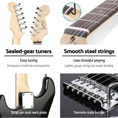 Alpha Electric Guitar Music String Instrument Rock Black Carry Bag Steel String