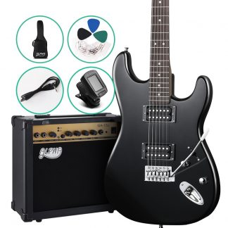 Alpha Electric Guitar And AMP Music String Instrument Rock Black Carry Bag Steel String