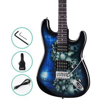 Alpha Electric Guitar Music String Instrument Rock Blue Carry Bag Steel String
