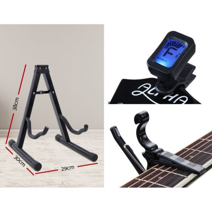 """Alpha 41"""" Inch Electric Acoustic Guitar Wooden Classical Full Size EQ Capo Black"""