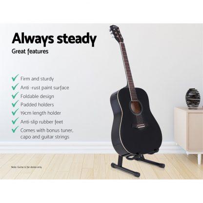 ALPHA Folding Acoustic Guitar Stand Bass Floor Rack Holder Accessories Pack