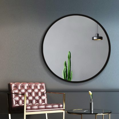 Embellir 90CM Wall Mirror Bathroom Makeup Mirror Round Frameless Polished