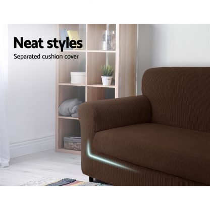 Artiss 2-piece Sofa Cover Elastic Stretch Couch Covers Protector 1 Steater Coffee