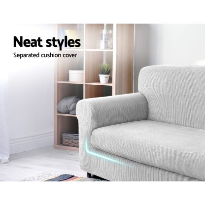 Artiss 2-piece Sofa Cover Elastic Stretch Couch Covers Protector 1 Steater Grey