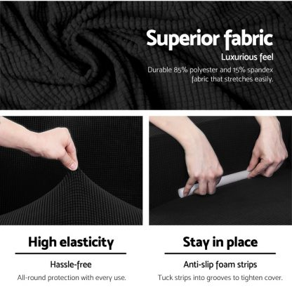 Artiss 2-piece Sofa Cover Elastic Stretch Couch Covers Protector 3 Steater Black