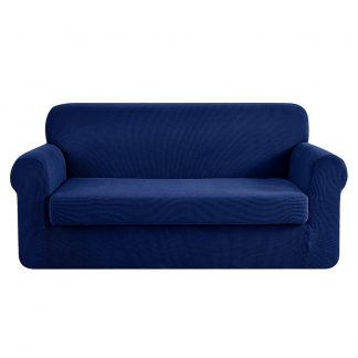 Artiss 2-piece Sofa Cover Elastic Stretch Couch Covers Protector 3 Steater Navy