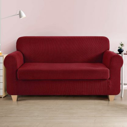 Artiss 2-piece Sofa Cover Elastic Stretch Couch Covers Protector 3 Steater Burgundy