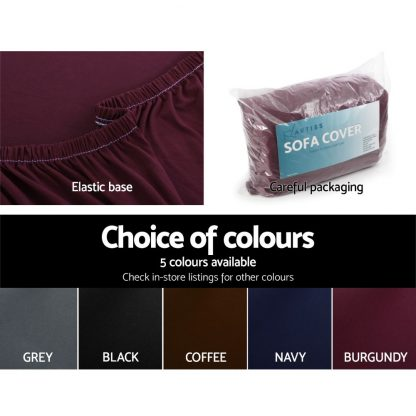 Artiss Sofa Cover Elastic Stretchable Couch Covers Burgundy 1 Seater