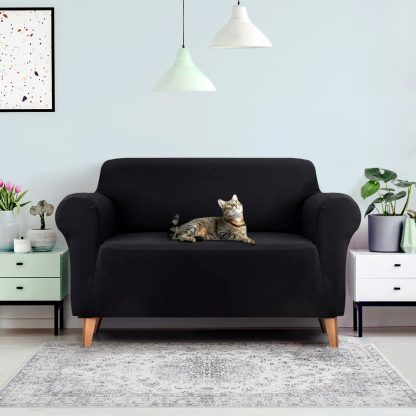 Artiss Sofa Cover Elastic Stretchable Couch Covers Black 2 Seater