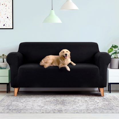Artiss Sofa Cover Elastic Stretchable Couch Covers Black 3 Seater