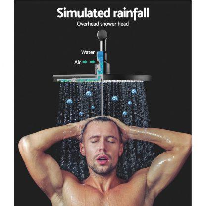 Cefito WELS 9'' Rain Shower Head Set Round Handheld High Pressure Wall Black