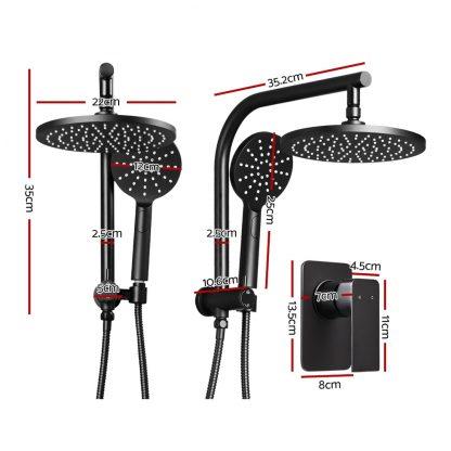Cefito WELS 9'' Rain Shower Head Mixer Round Handheld High Pressure Wall Black