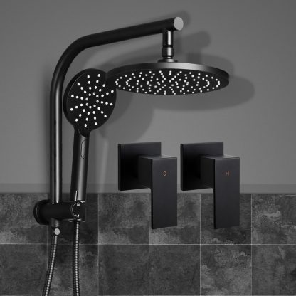 Cefito WELS 9'' Rain Shower Head Taps Round Handheld High Pressure Wall Black