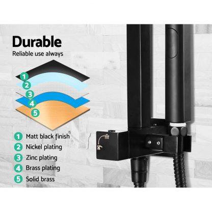 Cefito WELS 8'' Rain Shower Head Set Square Handheld High Pressure Wall Black