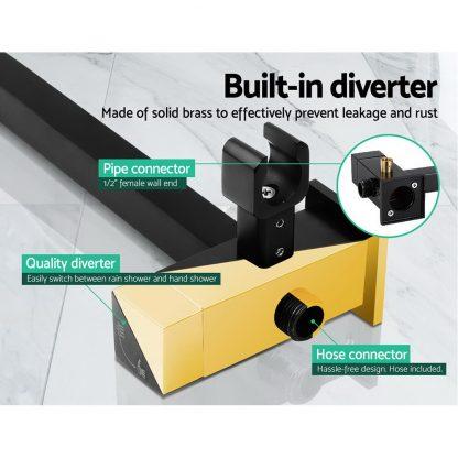 Cefito WELS 8'' Rain Shower Head Taps Square Handheld High Pressure Wall Black