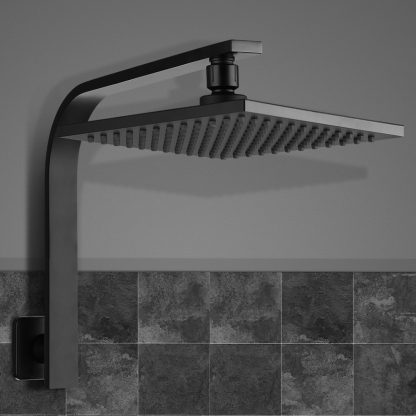 Cefito WElS 8'' Rain Shower Head Set Square High Pressure Wall Arm DIY Black