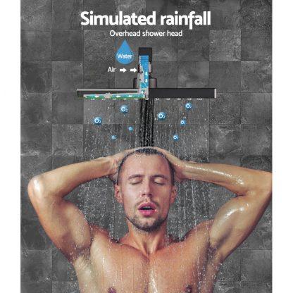 Cefito WElS 8'' Rain Shower Head Mixer Square High Pressure Wall Arm DIY Black