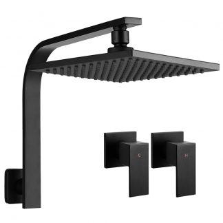 Cefito WElS 8'' Rain Shower Head Taps Square High Pressure Wall Arm DIY Black