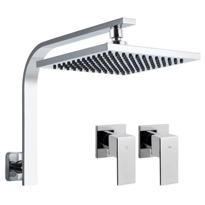Cefito WElS 8'' Rain Shower Head Taps Square High Pressure Wall Arm DIY Chrome