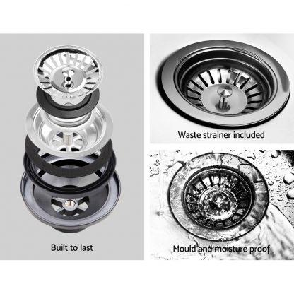 Cefito Kitchen Sink Granite Stone Laundry Top or Undermount Double White 440x190mm