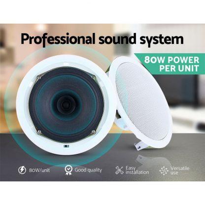 "2 x 6"" In Ceiling Speakers Home 80W Speaker Theatre Stereo Outdoor Multi Room"