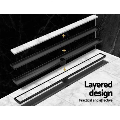 Cefito Stainless Steel Shower Grate Tile Insert Bathroom Floor Drain Liner 800MM Black
