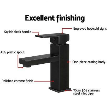 Cefito Basin Mixer Tap Faucet Bathroom Vanity Counter Top WELS Standard Brass Black