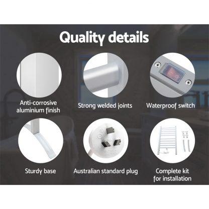 Devanti Heated Towel Rail Rack Bathroom Aluminum Electric Rails Warmer Clothes 10 Rungs