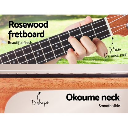 ALPHA 23 Inch Concert Ukulele Electric Mahogany Ukeleles Uke Hawaii Guitar with EQ