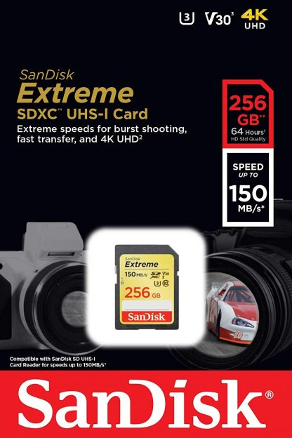 SANDISK SDSDXV5-256G-GNCIN SDXC Extreme CL10 V30 UHS-I/U3 150MB