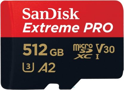 SANDISK SDSQXCZ-512G-GN6MA MICRO EXTREME PRO A2 V30 UHS-I/U3 170R/90W SDXC CARD WITH ADAPTER