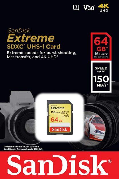 SANDISK SDSDXV6-064G-GNCIN SDXC Extreme CL10 V30 UHS-I/U3 150MB