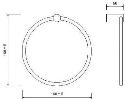Towel Ring Rail Grade 304 Stainless Steel 20cm