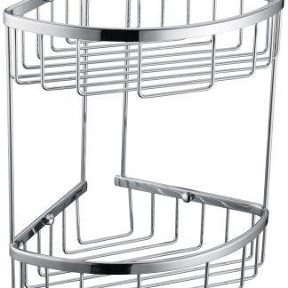 2-Tier Corner Bathroom Basket Shelf Rail Rack